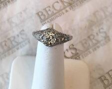 Platinum Deco Old Mine & Round Diamond Filigree Ring 1.14 tw JK-VS1-I1 size 8