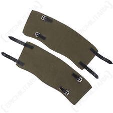 Original German Canvas & Leather Gaiters - Post War Surplus Army Soldier Uniform