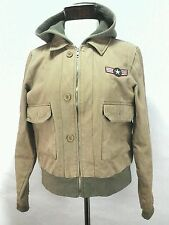 ROXY Bomber Flight Jacket Hoodie Coat Military Beige Brown Womens Large L  $129