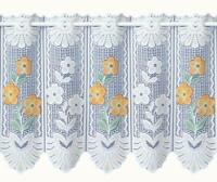 YELLOW MARIGOLDS AND DAISY FLOWERS WHITE LACE CAFE NET CURTAIN BY THE METRE