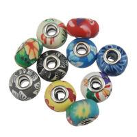 Perlen Polymer Clay European Rondell Mehrfarbig 8x15mm Schmuckdesign R29