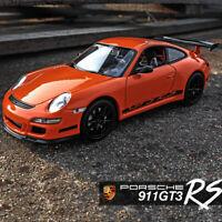 Welly 1/24 Orange Porsche 911 997 GT3 RS Diecast Metal Model Racing Car Vehicle