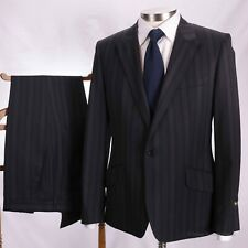 PAUL SMITH Peak Lapel Black Grey Stripe Wool Suit French Surgeon Cuffs 42