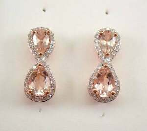 4Ct Pear Brilliant Cut Morganite Diamond Drop/Dangle Earrings 14K Rose Gold Over