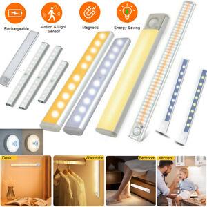 USB/Battery Rechargeable LED PIR Motion Sensor LED Lights with Magnetic Strip UK