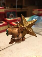 CARLTON CHRISTMAS ORNAMENT: SWINGING ON A STAR  MOUSE WITH GOLD STAR NEW