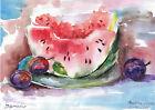 original painting A4 18BS art samovar watercolor fruit watermelon and plum