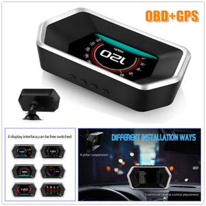 GPS+OBD Dual System HD Car HUD Head Up Display Speed Meters w/Sucker Universal