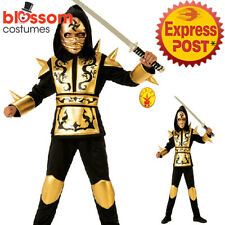 CK1260 Boys Gold Ninja Costume Japanese Fighter Warrior Martial Child Book Week