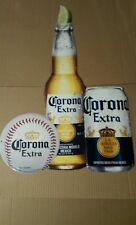 Corona Extra Beer W/Can Bottle W/Lime Baseball Tin Metal Tacker Sign