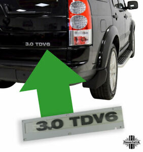 """Genuine Grey Lettering """"3.0 TDV6"""" Land Rover Discovery 4 tailgate rear decal"""