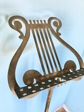 "Vintage Lyre Brass Harp Music Sheet Footed Stand - Adjustable To 52""."
