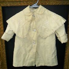 Antique Victorian Edwardian Baby Doll Infant Coat Embroidered Cape Cloak Collar