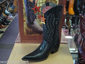 LOS ALTOS BLACK 3X-TOE GENUINE TEJU LIZARD WESTERN COWBOY BOOT (D) 95DV0705