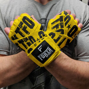 """Forza Sports 180"""" Mexican Style Boxing and MMA Handwraps - KTFO Yellow"""