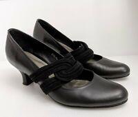 Django & Juliette Zova Blk Leather Spool Pump Heels Sz 40 9 Work Party Corporate