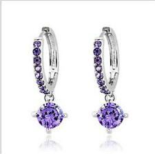 Fashion Woman White Gold Plated Cubic Zirconia Crystal Hoop Earrings Dangler