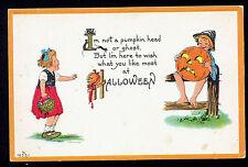 Halloween Postcard ~ Boy On Fence Holding Jack O Lantern Scares Girl ~ Poem
