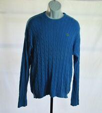 Lacoste Blue Cable Knit Long Sleeve Sweater Men's Sz L