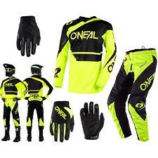 Oneal Element Racewear Combinato Neon Nero MX Enduro Pantalone Cross Tuta Guanti