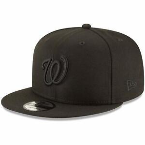 Washington Nationals New Era Black on Black 9FIFTY Team Snapback Adjustable Hat