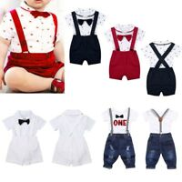 3pcs Toddler Baby Boys Kids Romper+Suspender Shorts Bowtie Outfits Gentleman Set