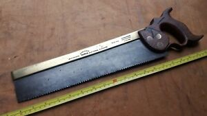 Vintage  Moses Eadon Brass Backed Tenon Wood Saw Carpenters Woodworking Tool