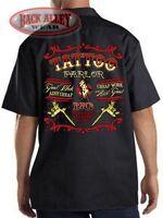TATTOO PARLOR Mechanics DICKIES Work Shirt ~ Good Work Ain't Cheap Tats INK SHOP