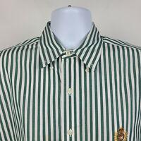 Ralph Lauren 100% Cotton Green White Striped Mens Dress Button Shirt Size Large