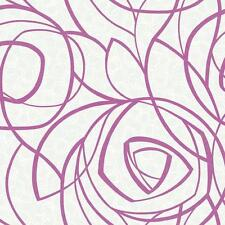 Wallpaper Modern Abstract Scribble Glitter Magenta Pink Floral on Pearl White