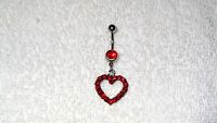 Beautiful Red Crystal Heart Belly Navel Ring Body Jewelry Piercing Love 14g Hot