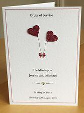 Sample Handmade Wedding Order of Service with Insert.