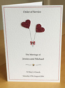 Sample Handmade Wedding Order of Service with Insert - Raised Glitter Hearts