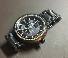 FOSSIL CE1009 Women Round Watch BLACK CERAMIC Bracelet Peal Black Dial CRYSTALS