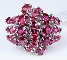 ART Deco VINTAGE 60's 14K White Gold STUNNING Ruby Cluster Ring 7 Carats Total