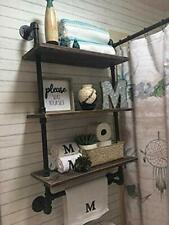 3 Tier Farmhouse Towel Rack Over Toilet Rustic Wood Shelf With Towel Bar 19.6in