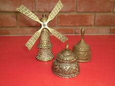 VINTAGE BRASS BELLS, WINDMILL AND 2 OTHERS