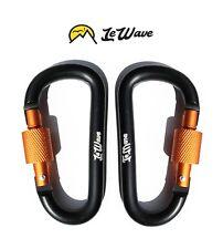 Carabiners (Set of 2) D-Ring Hooks - Screw Lock - Superior Clips - BLACK LeWave