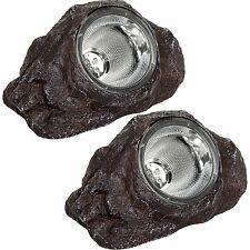 GreenLighting Solar Outdoor Garden LED Rock Spot Lights Dark Brown, 2 Pack