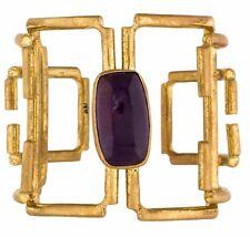 CUFF 22K GOLD Plate Designer Neen Wide OPEN Bracelet Bangle Amethyst NEW