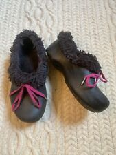 Crocs Girls Convertible Blizten Lined Rubber Clogs Black Pink 1
