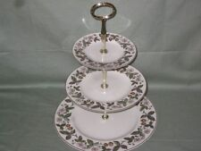 Wedgwood Strawberry Hill Bone China 3-Tier Hostess Cake Plate Stand