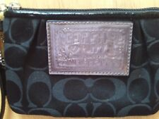 Coach Poppy black wristlet pouch Signature C fabric, hang tag, silver hardware
