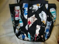 CATS IN SNEAKERS  PRINT CLOTH ''9  POCKET''BINGO BAG HANDMADE