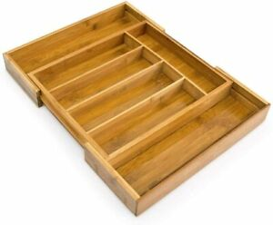 Relaxdays Adjustable Bamboo Tray, Extendible, with 5 to 7 Compartments Drawer