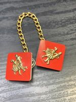 Ladies 1950's Good  Tone Red At The Hop Dancing Clip Scarf Clip