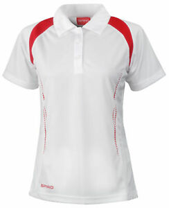 LADIES - STYLISH HI-TECH BOWLS TOP - WHITE WITH RED - SALE