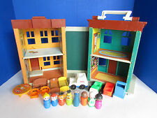 Vintage Fisher Price Little People Play Family Sesame Street House & Accessories