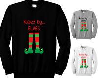 CHILDRENS RAISED BY ELVES CHRISTMAS JUMPER FESTIVE GIRLS BOYS SWEATSHIRT