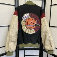Vintage 80s 90s Nike Basketball Employee Store Letterman Jacket Distressed XL